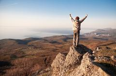 on the top of world - stock photo