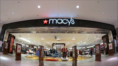 Macys storefront entrance shopping mall Stock Footage