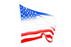 USA Flag Blowing In The Wind Stock Illustration