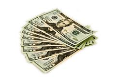 US Cash Laid Out In A Fan Pattern Stock Photos