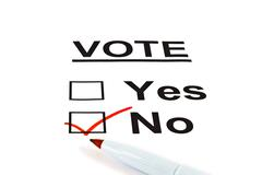 Yes / No Vote Ballot Form With No Checked - stock photo
