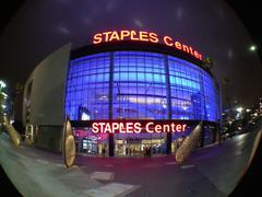 Staples Center Downtown Los Angeles - Night - Fisheye Lens - stock photo