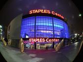 Stock Photo of Staples Center Downtown Los Angeles - Night - Fisheye Lens