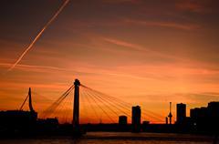 rotterdam city sunset skyline - stock photo