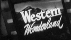 WESTERN WONDERLAND Travel Vacation Vintage Old Film Title Graphic Leader 7080 Stock Footage