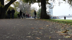 Berlin Treptower Park in Fall Stock Footage