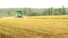 Combine harvester rice Stock Footage