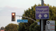 Stock Video Footage of Dodger Stadium Sign, Los Angeles, California