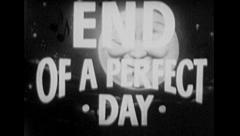 END OF A PEFECT DAY Vintage Old Film Title Graphic Leader Happy Relax 8mm 7081 - stock footage
