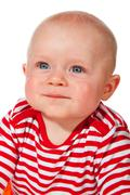 portrait of a friendly baby - stock photo