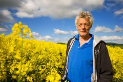 Stock Photo of landscape with man in cole seed