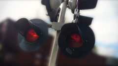 Passing Train Warning Lights and Sound Stock Footage