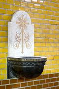 holy water font - stock photo