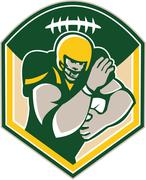 american gridiron running back fending crest - stock illustration