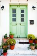 greek door - stock photo