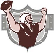 american football receiver touchdown retro - stock illustration