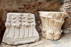 Byzantine ornaments in the town mystras Stock Photos