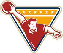 Bowler pose bowling ball pins retro Stock Illustration
