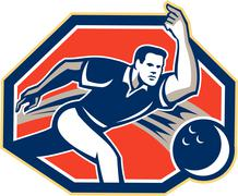 bowler throw bowling ball retro - stock illustration