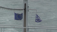 Stock Video Footage of Ferry boat trail, flying flags of EU and Greece, seagulls, waveform, sea