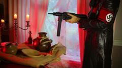 Nazi soldier gaurding relics relic gaurd Stock Footage