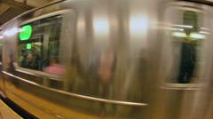 Subway Train speeding up Stock Footage