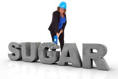African american woman wearing a protection helmet braking a 3d sugar text  - Stock Illustration