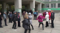 pupils do exercises on the street near school 4 HD Footage