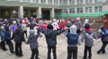 pupils do exercises on the street near school 5 Footage