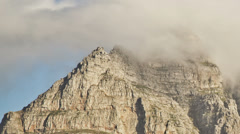 Table Mountain Time Lapse Clouds Pan - stock footage