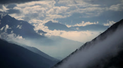 time lapse. beautiful landscape. alps rocks. fog clouds - stock footage