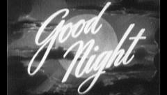 GOOD NIGHT Bedtime Sleep Vintage Old Film Title Finish End Graphic Leader 7093 Stock Footage