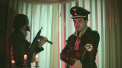 Nazi officers held up in mansion old film Stock Footage