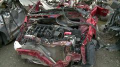 Tsunami wrecked cars. Stock Footage