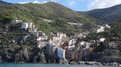View of Riomaggiore from the Mediterranean Stock Footage