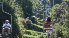 View from the Mount Solaro Chair lift on the Isle of Capri (5 of 7) Stock Footage
