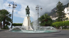 Flavio Gioia Statue in the town of Amalfi in Italy (2 of 2) Stock Footage