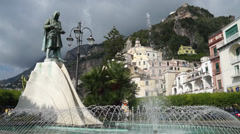 Flavio Gioia Statue in the town of Amalfi in Italy (1 of 2) Stock Footage