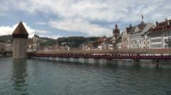 Lucerne, Switzerland - Chapel Bridge - static shot Stock Footage