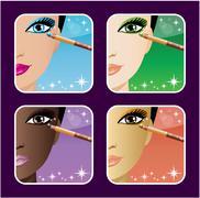 set of makeup young european, asian, african women - stock illustration
