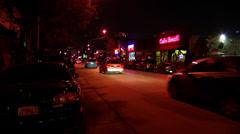 City Street at Night Stock Footage