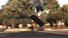 Super slow motion skateboarding trick 360 flip 1000fps - stock footage