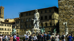 Florence Italy Neptune fountain hyperlapse Stock Footage