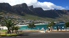 View of Camps Bay, Cape Town, South Africa Stock Footage