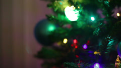 Christmas tree lights and ornaments Stock Footage