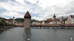 Lucerne, Switzerland - Chapel Bridge Stock Footage