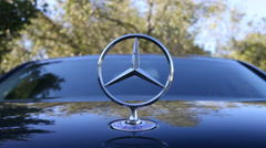 Mercedes Benz Hood Ornament Logo Stock Footage