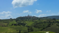 Tuscan countryside and San Gimignano time lapse 4k Stock Footage