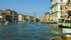 Sailing down Venice Grand Canal time lapse Stock Footage