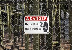 electrical danger sign - stock photo